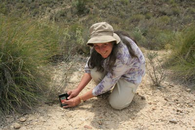 Fig.5: The author taking UVI readings in the field: Almeria, Spain
